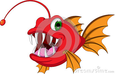 Red monster fish cartoon