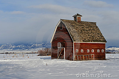 Red Montana Barn In Winter