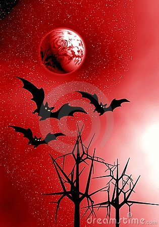 Red Moon and bats.