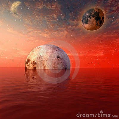 Red moon and planet
