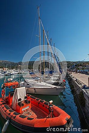 Red motorboat at marina Majorca