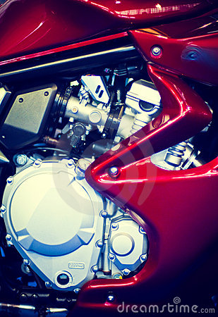 Red motorcycle engine