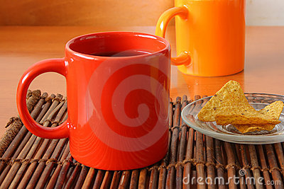 Red mug and chips on glass plate