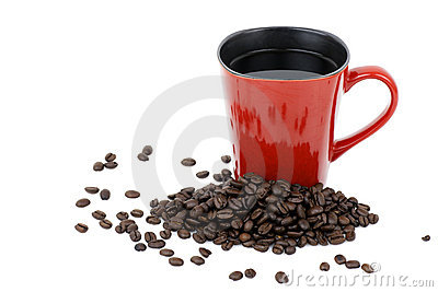 Red mug and coffee beans