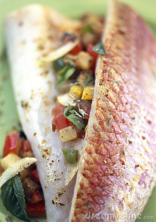 Red mullet fillets with basil and ratatouille