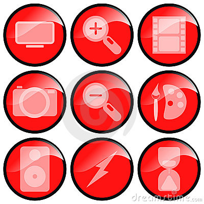 Red Multimedia Icons