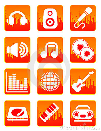 Red music and sound icons