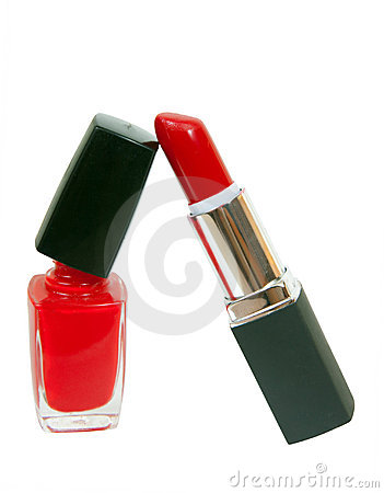Red nail polish and stick