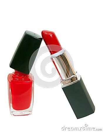 Red nail polish and stick