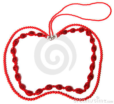 Red necklace in apple shape