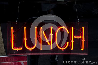 Neon Lunch Sign Stock Photo