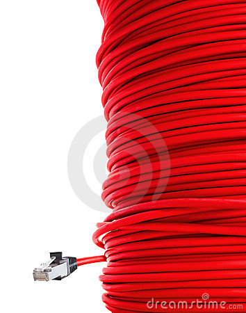 Red network cable
