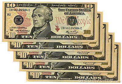 red new ten dollars isolated, savings wealth, many