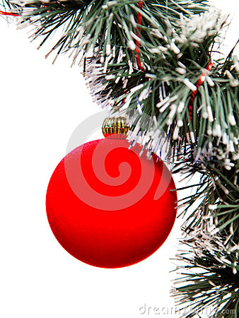 Red New Year s ball.Christmas still life on a white background