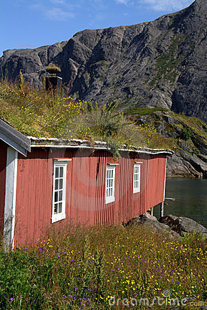 Red Norwegian fishing hut