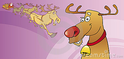 Red nose reindeer christmas card