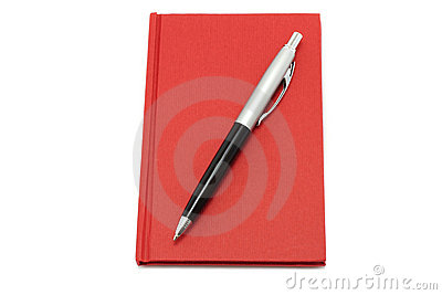 Red notepad with ball pen