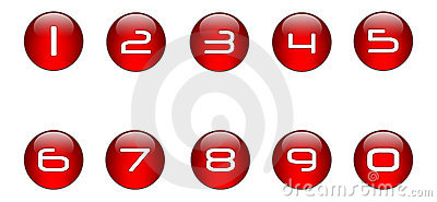 Red Numbers Icons Set [01]
