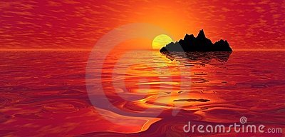 Red ocean sunset over island