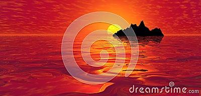 Red ocean sunset over island