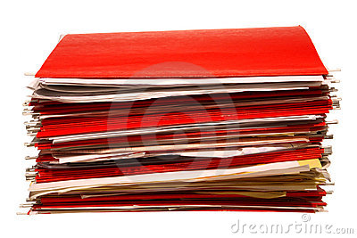 Red Office File Folders Stack with Papers Isolated