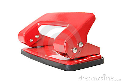 Red office paper hole puncher