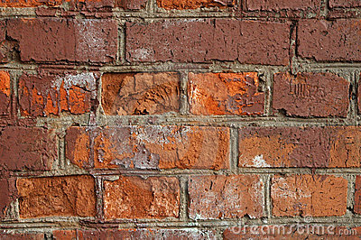 Red old brick textured wall