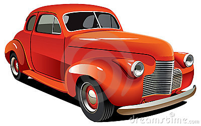 Red old-fashioned hot rod