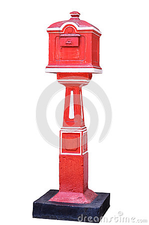 Red old-fashioned mailbox