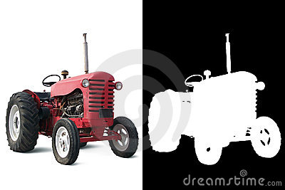 Red Old Tractor with Alpha