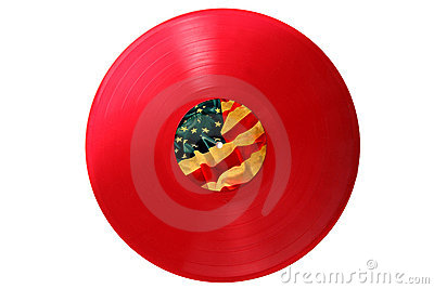 Red old Vinyl record with USA flag