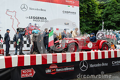 Red OM 665 Superba, 1929, starts the 1000 Miglia Editorial Photo