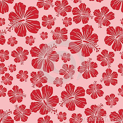 Free Red On Pink Random Hibiscus Flower Seamless Repeat Pattern Background Stock Image - 114530121