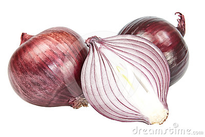 Red onion cut.