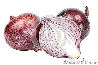 Red onion cut.