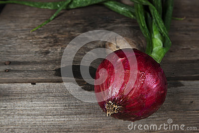 Red Onion Wood Surface