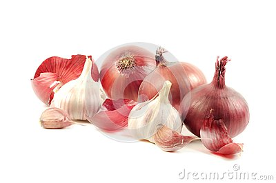 Red onions and garlic