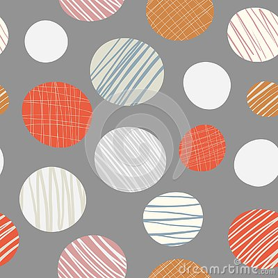 Red, orange, cream hand drawn circles seamless vector pattern on neutral brown background. Stylish contemporary design Vector Illustration