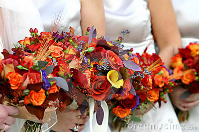 Red and orange flower bouquet
