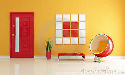 Red and orange home entry foyer