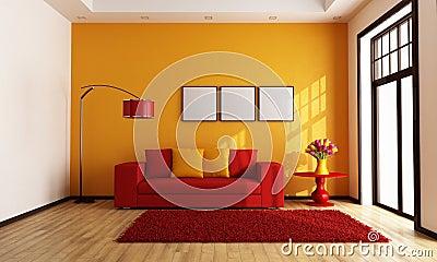 red and orange living room stock photo 28662354. Black Bedroom Furniture Sets. Home Design Ideas