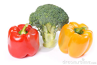 Red and orange paprika with broccoli