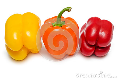Red orange and yellow Bell peppers