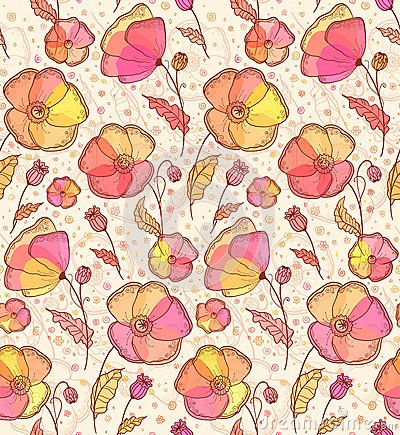 Red, orange and yellow flowers  pattern