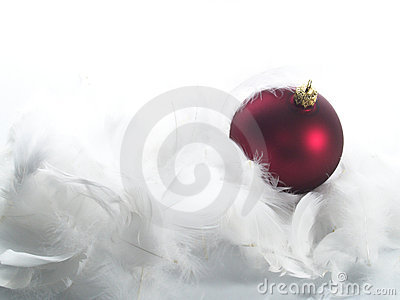 Red ornaments in  feathers