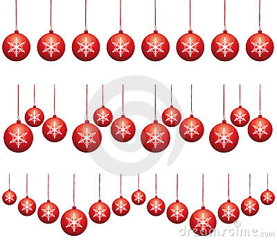 Red ornaments tinsels.