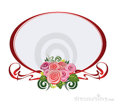 Red oval frame with roses