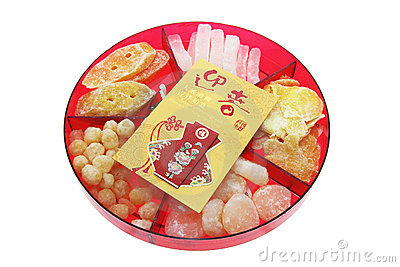 Red Packet and Chinese New Year Delicacies