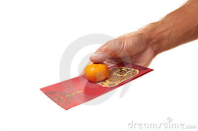 Red Packet With Mandarin Orange