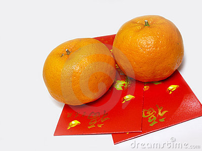 Mandarin Oranges And Red Packets Stock Image - Image: 7948461